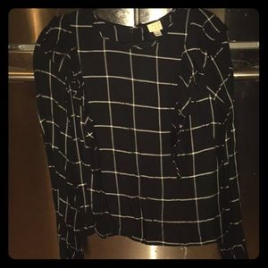 A New Day Black Blouse with Ruffle Detail